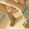 รองเท้าส้นสูง รัดส้นส้น สีฟ้า สุดน่ารัก จากเกาหลี