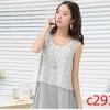 c2931 เสื้อให้นมแขนกุด ชั้นนอกเป็็นเสื้อลูกไม้ ตัวในเป็นผ้ายืดสีเทา