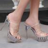 รองเท้าส้นแก้วสายคาดพลาสติกใส ไซต์ 35-43