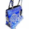 ของขวัญให้ผู้ใหญ่ กระเป๋าถือ size M แบบ 92 สีฟ้าทอง