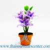 ของขวัญไทย ดอกไม้จิ๋วดินปั้น ดอกลิลลี่สีม่วงเข้ม