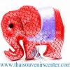 ตุ๊กตาช้างผ้าไหม แบบ 40 หมอนช้าง size M สีแดงม่วง