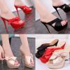 รองเท้าส้นสูงแบบสวมสีชมพู/แดง/ดำ ไซต์ 34-39