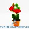 ของขวัญไทย ดอกไม้จิ๋วดินปั้น ดอกกุหลาบสีแดง