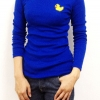 เสื้อยืดแขนยาวสีน้ำเงิน ปักลายเป็ดเหลือง-พร้อมส่ง