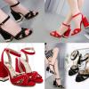 รองเท้าส้นสูงส้นหนาเดินง่ายสีแดง/ดำ ไซต์ 34-40