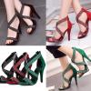 รองเท้าส้นสูงไขว้หน้าผ้าแต่งคริสตัลหรูสีแดง/เขียว/ดำ ไซต์ 34-43
