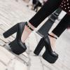 รองเท้าส้นสูงคัดชูส้นหนาสีดำ ไซต์ 34-39