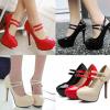 รองเท้าส้นสูงคัดชูหนังแก้วสีดำ/แดง/ครีม ไซต์ 34-43