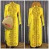 ชุดเวียดนามหญิงชั้นสูง ลายหงส์คู่มังกร (สีเหลือง)