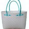 ตะกร้าสานพลาสติก กระเป๋าสานพลาสติก ATS - สายเขียวมิ้นต์ กว้าง 14 cm. ยาว 32 cm. สูง 20 cm.