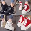 รองเท้าผ้าใบเสริมส้น ไซต์ 35-39 สีดำ/แดง/ขาว