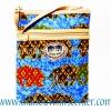 ของฝากจากไทย กระเป๋าสะพายลายช้างผ้าถุงสายหนัง แบบ 3 สีน้ำเงิน