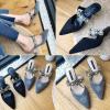 รองเท้าส้นสูงปลายแหลมแบบสวยหรูสีเทา/ดำ ไซต์ 35-39