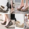 รองเท้าส้นเตารีดตัวส้นปักลายผ้าสวยเก๋สีดำ/ทอง ไซต์ 35-39