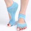 ถุงเท้าโยคะกันลื่น Socks Yoga รุ่นเปิดนิ้วสีฟ้า