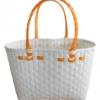 ตะกร้าสานพลาสติก กระเป๋าสานพลาสติก ATS - สายส้ม   กว้าง 14 cm. ยาว 32 cm. สูง 20 cm.