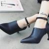 รองเท้าส้นสูงสีดำหนัง/ดำกำมะหยี่ ไซต์ 35-39