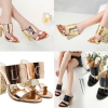 รองเท้าส้นสูงส้นหนาแบบสวมสีแชมเปน/ทอง/ดำ ไซต์ 34-40