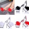 รองเท้าส้นแก้วสายคาดขนนกฟรุ้งฟริ้งสีขาว/แดง/ดำ ไซต์ 34-40