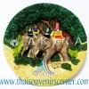 สินค้าที่ระลึก จานโชว์เรซิ่น แบบ 4 ลายนักท่องเที่ยวนั่งช้างไทย