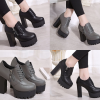 รองเท้าบูทส้นหนาสีดำ/เทา ไซต์ 35-39