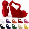 รองเท้าส้นเตารีด ไซต์ 34-42 สีแดง/ดำ/ขาว/ส้ม/ชมพู/เขียว/น้ำเงิน/ม่วง/เหลือง/แอพพริคอท