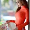 ชุดเวียดนามผู้หญิง สีส้ม (งานสั่งตัดพิเศษ)
