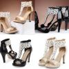 รองเท้าส้นสูงสีทองติดมุข/สีดำ ไซต์ 34-39