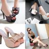 รองเท้าส้นสูงแบบสวมกากเพชรแน่นๆสีชมพู/เงิน/ดำ ไซต์ 34-43