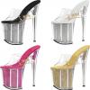 รองเท้าส้นแก้วเพชรด้านในส้นสวยหรูสีดำ/เหลือง/ชมพู/ขาว ไซต์ 34-46