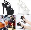 รองเท้าส้นสูงแบบสวยเป๊ะสีดำหนังเงา/ดำหนังด้าน/ขาวหนังเงา ไซต์ 34-40