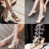 รองเท้าส้นสูงแต่งคริสตัลดูสวยหรู สีพื้นดำ/ขาว/นู๊ด ไซต์ 34-43