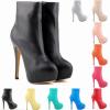 รองเท้าบูทส้นสูง ไซต์ 35-42 สีดำ/แดง/ขาว/ฟ้า/ชมพู/ครีม/เหลือง/เขียวอมฟ้า/ชมพูกุหลาบ/ส้ม