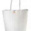 ตะกร้าสานพลาสติก กระเป๋าสานพลาสติก AU - White กว้าง 12 cm. ยาว 35 cm. สูง 34 cm.