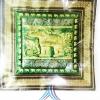 ปลอกหมอนช้าง แบบ 15 สีเขียวพื้นทอง ช้างปักลายนูน