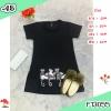 F13055 มินิเดรสแขนสั้น คอกลม สกรีนแมวที่ชายเสื้อสุดน่ารัก สีดำ