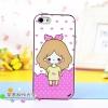 iPhone 4, 4S - เคส Face Idea ลาย หญิงน่ารัก พื้นหลังหัวใจ
