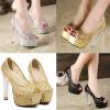 รองเท้าส้นสูงส้นแก้วสีเงิน/ทอง/ดำ ไซต์ 34-39