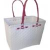 ตะกร้าสานพลาสติก กระเป๋าสานพลาสติก JLM - สายชมพูบานเย็น กว้าง 22 cm. ยาว 35 cm. สูง 27 cm.