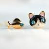 ต่างหูสไตล์เกาหลี รูปแมวกับปลา พร้อมส่ง