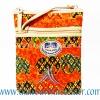 ของฝากจากไทย กระเป๋าสะพายลายช้างผ้าถุงสายหนัง แบบ 2 สีส้ม