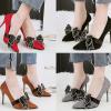 รองเท้าส้นสูงคัดชูปลายแหลมสีแดง/ดำ/เทา/น้ำตาล ไซต์ 34-39