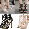 รองเท้าส้นสูงสายไขว้สีชมพู/ดำ ไซต์ 35-40