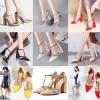รองเท้าส้นสูงปลายแหลมส้นหนาสีทอง/เงิน/ขาว/ดำ/แดง/นู๊ด/เหลือง ไซต์ 34-43