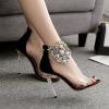 รองเท้าส้นสูงแต่มุขและคริสตัลที่สายรัดข้อสวยหรูสีดำ ไซต์ 35-40