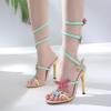 รองเท้าส้นสูงสีสดใสมีสายพันรอบขาแต่งผีเสื้อ ไซต์ 35-40