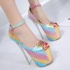 รองเท้าส้นสูงสีรุ้งเกล็ดงู ไซต์ 35-40