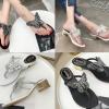 รองเท้าคีบติดผีเสื้อสีดำ/เงิน ไซต์ 35-39