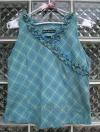 เสื้อแขนกุด สีฟ้า ลายสก๊อต มีระบายที่คอเสื้อ cutting สวยเนี๊ยบ